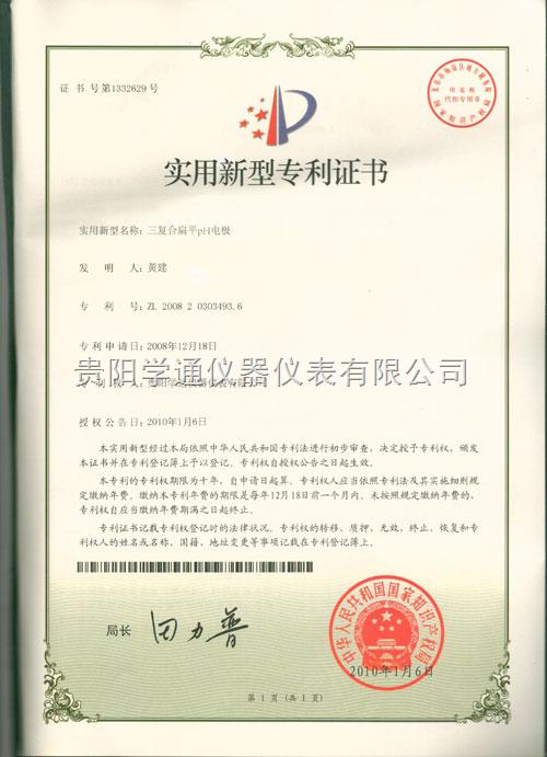 三复合扁平PH电极专利证书