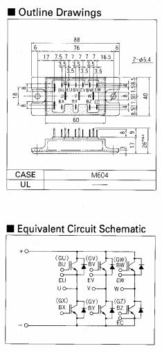 6mbi20f-060富士igbt模块  包装以及电路图