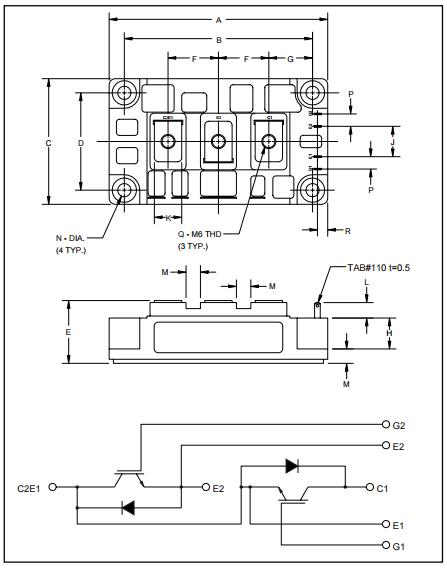 三菱igbt模块电路图以及外观